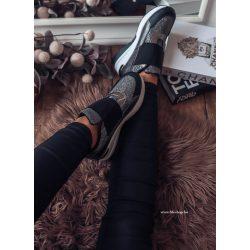 Fekete - ezüst cipő