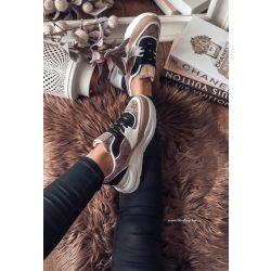 Fekete-drapp cipő