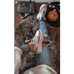 Fehér - drapp - zöld cipő